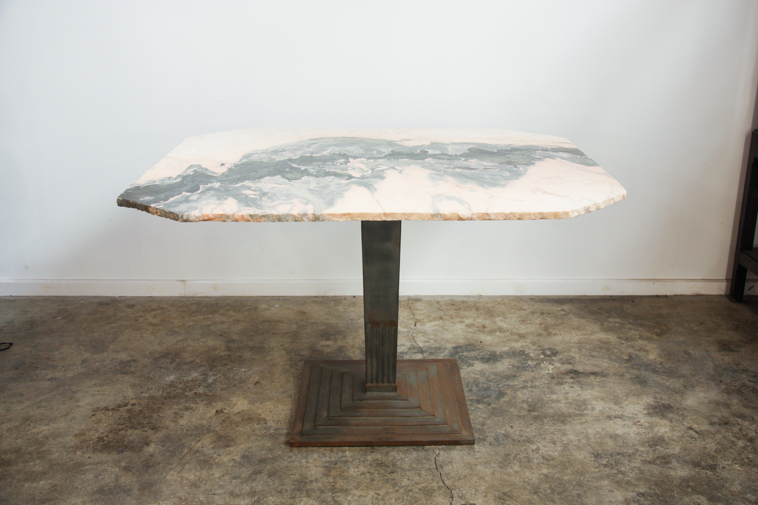 Art Deco Cast Iron Peach Pink Green Marble Dining Table Stockoud